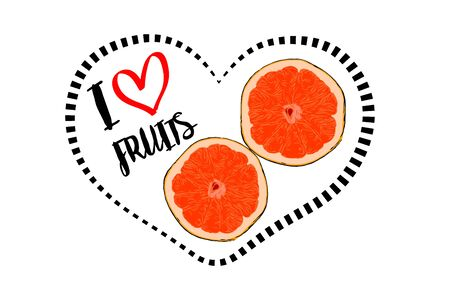 Dotted line black heart shape with black I love fruits hand drawn text and little red heart inside. cartoon drawn two pieces of orange fruit with inside heart isolated on white background. Cut orange