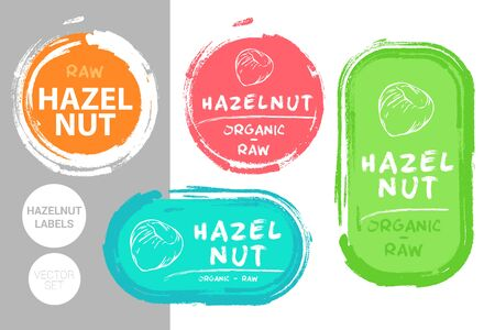 Hazelnut colorful label set. Raw organic nuts Badge shapes. Creative Nut tags. Raw food stickers ready for web and print. Painting brush style labels. Brush stroke badges.