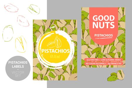 Pistachio nuts labels with brush stroke elements, cartoon drawn nut texture. Pistachios product Badge with text: gluten free, low glycemic index, no sugar alcohols, 0g trance fat