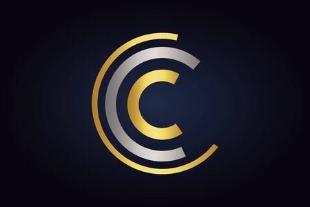Three Letters C vector in silver and gold colors isolated on dark
