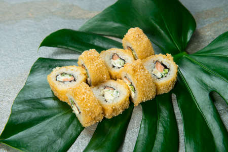 Close-up to Japanese Tempura Hot sushi roll served on exotic monstera leaf, stone background. salmon fillet, cucumber and cream cheese wrapped in nori seaweed and rice with breading. Tropical concept