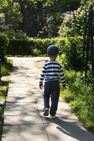 An inquisitive kid in a striped T-shirt walks without his parents along a narrow path, lined with large stone tiles, in a flowered square. European boy goes to the intersection of asphalt roads in the park