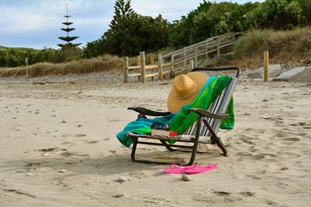 Beach chair on a relaxing beach