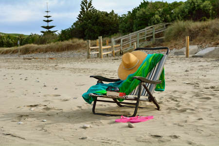 Beach chair on a relaxing beach