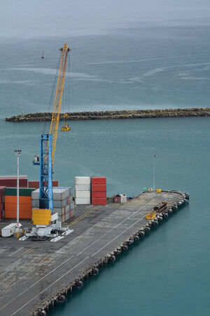 Aerial view of a wharf with containers
