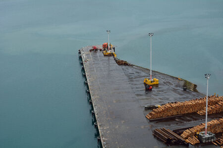 Aerial view of a shipping dock