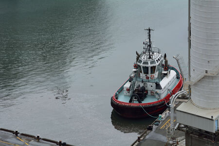 Aerial view of tugboat
