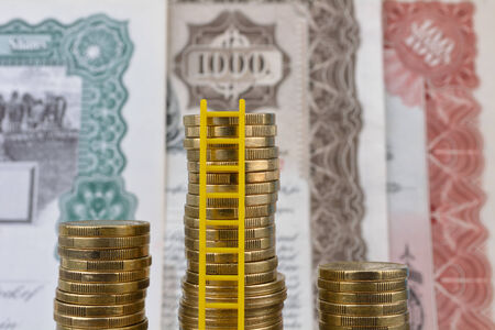 Investment dollars growing and piling up. Stockfoto