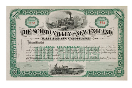 shares: Stock Certificate from late 1800 *not under copyright* Stock Photo