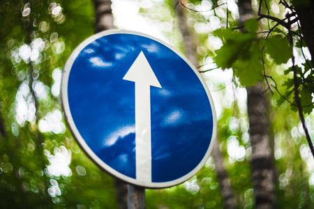 unfreedom: The blue road sign with a white arrow ordering the movement directly in the green wood Stock Photo