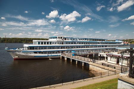 nikolay: Cruise ship Nikolay Karamzin at berth in  Uglich (Russia, august 2016)