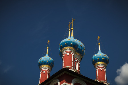 uglich russia: Blue Domes of the Church of St. Demetrios on the Blood on the banks of the Volga river (Uglich, Russia)