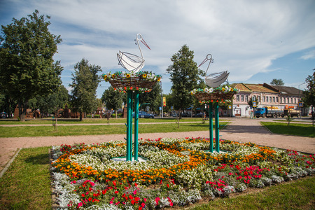 uglich russia: Metal statue of  two storks in Uglich. Russia. August 2016.