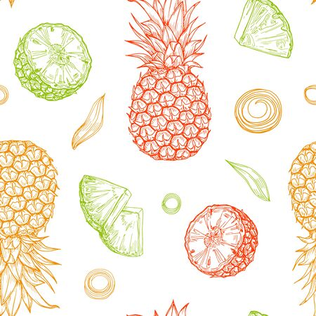 Hand drawn colored isolated pineapples seamless pattern on white background. Sketched abstract vector food illustration. Design element for card, print, template, wallpaper, texture, textile, cover. Ilustración de vector