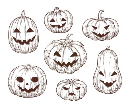 Halloween pumpkin sketch. Vector illustration in retro style. Frightening and funny pumpkins with carved mouths and eyes. Isolated objects. For banners, advertising, posters, backgrounds, invitations, cards.