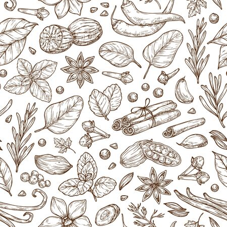 Spices and herbs sketch pattern. Pepper, basil, cinnamon, vanilla, rosemary, cardamom. Vector background for design, textile, packaging, menu.
