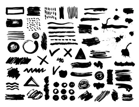 Vector set of abstract ink frames. Hand drawn sketch collection of black paint, ink brush strokes, brushes, lines, grungy. Dirty artistic design elements, boxes, frames. Vector Illustration