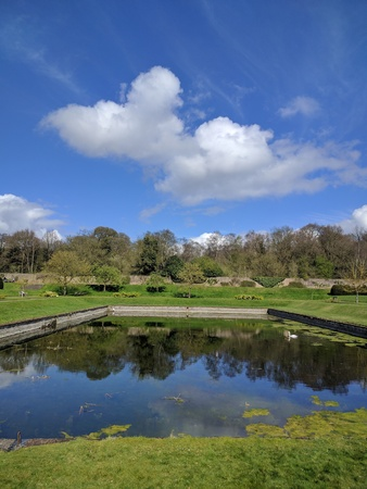 Large swimming pond where Lord Byron swam Stock Photo