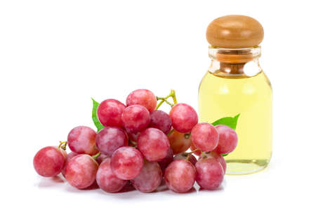 Grapes seed oil isolated on white background.