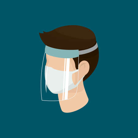 Man wear protective medical facial mask with face shield cartoon isometric design icon vector illustration. Infectious control and prevent corona virus, covid-19 epidemic concept.