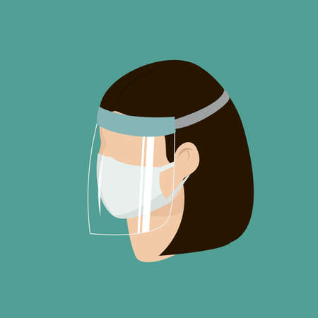 Woman wear protective medical facial mask with face shield cartoon isometric design icon vector illustration. Infectious control and prevent virus, covid-19 epidemic concept.
