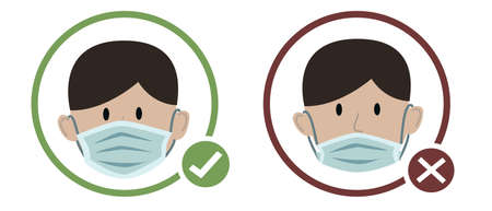 Man wearing protective medical face mask cartoon design icon vector illustration. Infectious control and protect coronavirus, covid19 pandemic concept. Ilustração