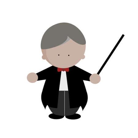 Music orchestra conductor in tuxedo suit with baton icon vector illustration. Vettoriali
