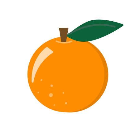 Fresh organic perfect tangerine or mandarin orange fruit vector icon illustration isolated on white.