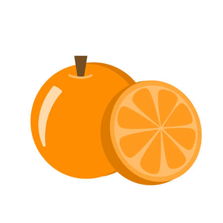 Fresh organic tangerine or mandarin orange fruit with cut in half slice vector icon illustration isolated on white.