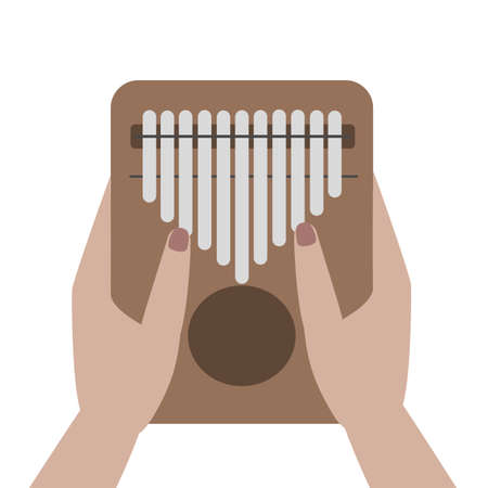 Hands holding and play Kalimba ( Mbira or thumb piano ) isolated on white. African musical instrument. vector cartoon icon illustration. Ilustração