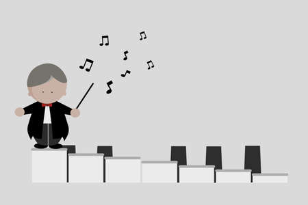 Conductor man stand on piano keys icon vector illustration.