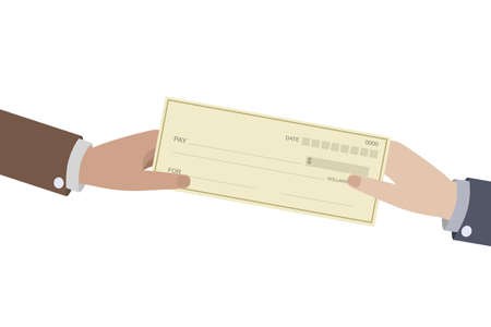 Human hand ofrfering bank cheque isolated on white. icon vector illustration. Paycheck and payroll concept.
