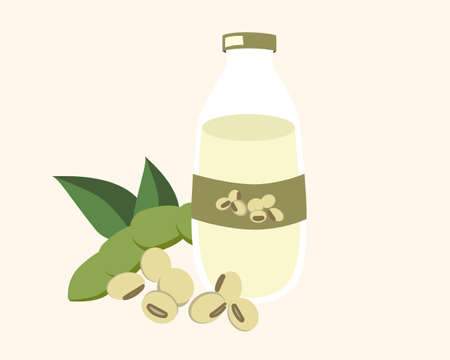 Bottle of soy milk and soya bean with green leaf cartoon icon vector illustration.