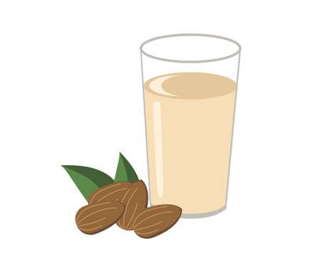 Glass of almond milk icon vector illustration.