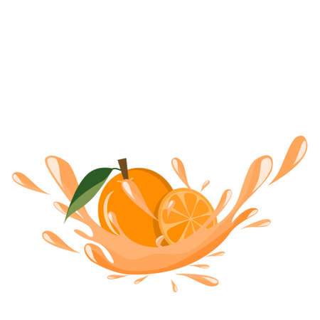 Fresh organic orange juice splash vector icon illustration.