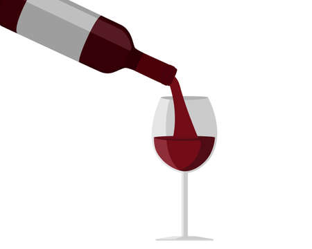 Bottle and glass of red wine isolated on white background. Icon vector illustration.