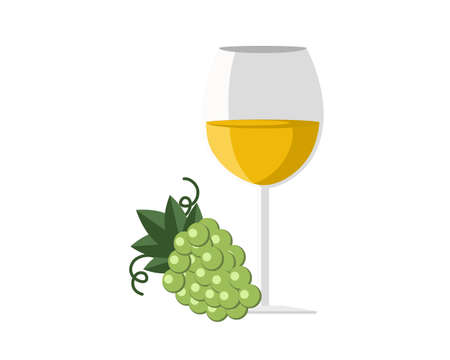 White wine with ripe grapes isolated on white background. icon vector illustration.