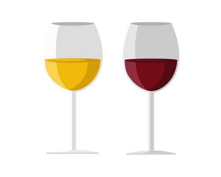 White and red wine isolated on blue white background. icon vector illustration.