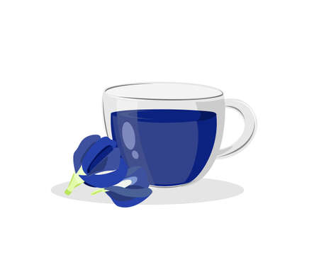 Glass cup of sweet butterfly pea tea or blue pea isolated on white background. Vector illustration Vetores