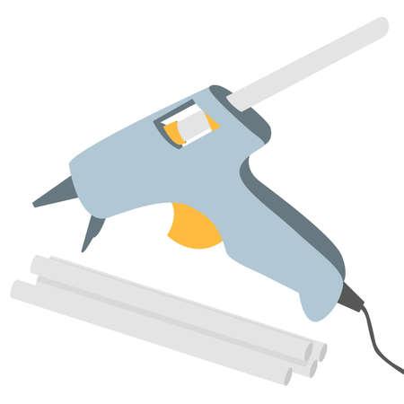 Hot glue gun isolated on white background. Vector illustration.