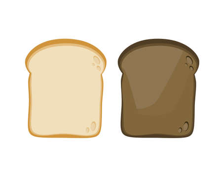 Two slice toasted bread isolated on white background. Vector illustration.