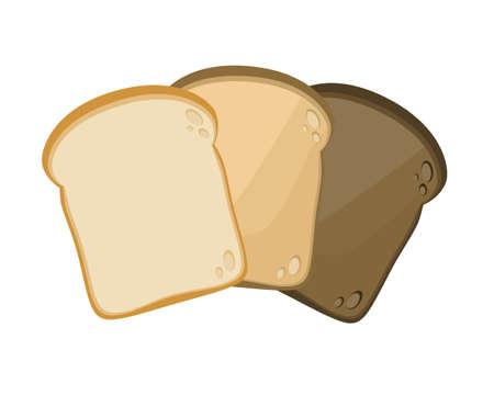 Set of three slice toasted bread isolated on white background. Vector illustration. Ilustrace