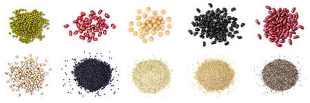 Collection pile of mix bean ( red kidney, green mung, black bean, soy , sesame, quinoa, chia seeds and millet )isolated on white background. Top view. Flat lay.