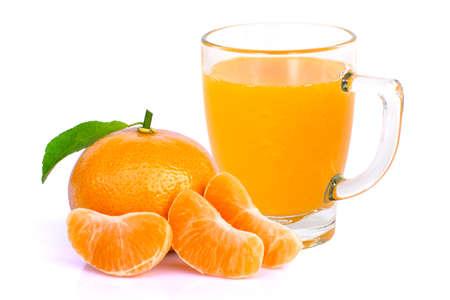 Glass of fresh organic 100% orange juice with tangerine or clementine orange fruit isolated on white background. Stock Photo