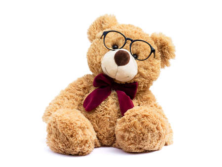 Brown teddy bear with eye glasses isolated on white background. Banque d'images