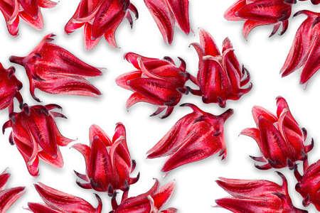 Fresh Roselle fruits ( Jamaica sorrel, Rozelle or hibiscus sabdariffa ) isolated on white background.