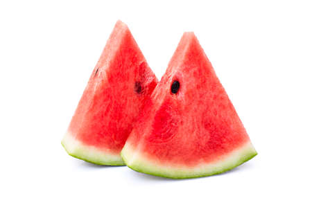 Closeup two slices of red watermelon isolated on white background
