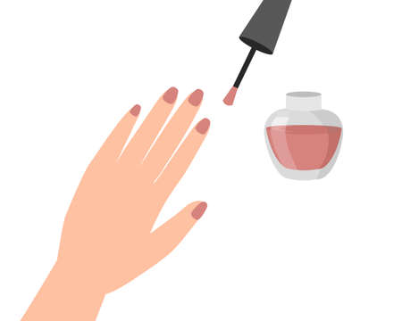 Woman hand with nail painted on white background. nail care and manicure concept. Icon vector illustration. Illustration