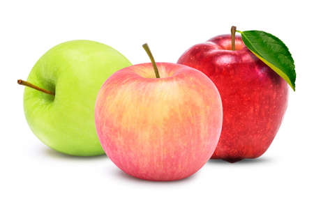 Various types of apples ; green, red and pink apple isolated on white  background. Archivio Fotografico