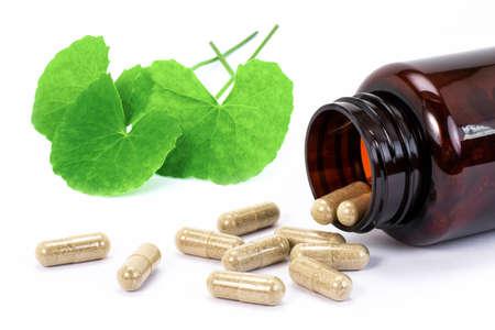 Herbal capsule with Gotu Kola leaf isolated on white background.